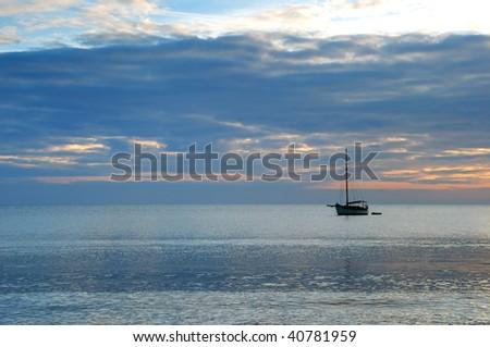 Sunrise across Swanage Bay in Dorset, England