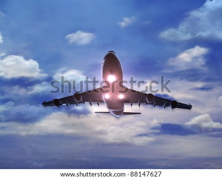Sunrise Aircraft fly over the head explain the holiday tourism.Enjoy the travel leisure time.  - stock photo