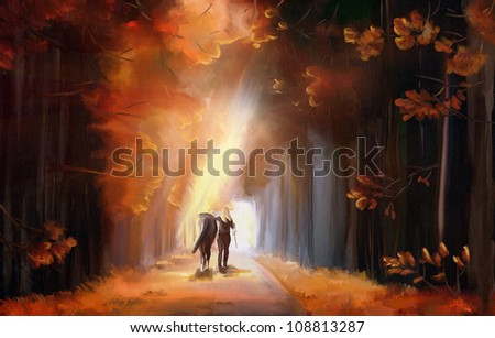 Sunrise alley in autumn park with woman and her horse. Digital hand drawing - simulated oil painting with canvas texture