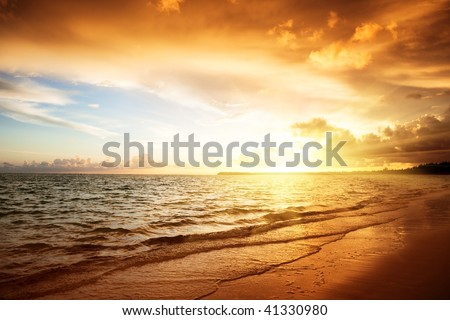sunrise and atlantic ocean in Dominican republic