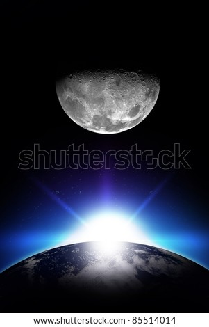 Sunrise and Moon - Vertical Space Illustration. Rising Sun, Earth and the Moon. Simple and Cool Illustration. Your Logo Ready!