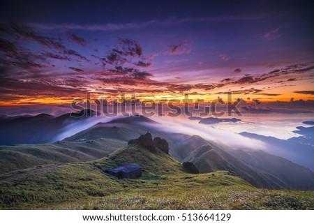"Sunrise at a mountain called ""Sunset Peak""  in Hong Kong #513664129"