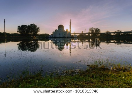 Stock Photo sunrise at as'salam mosque in puchong