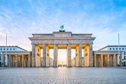 Sunrise at Berlin city with Brandenburg gate in Berlin, Germany.