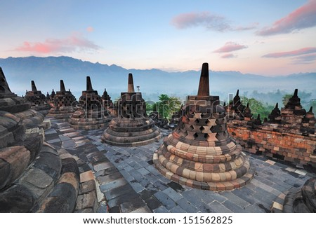 ShutterStock Sunrise At Borobudur Temple Stupas Yogjakarta East Java