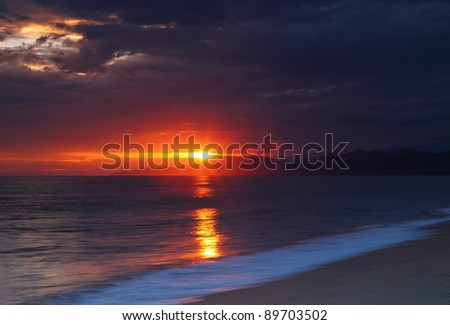 Sunrise at Caribbean sea