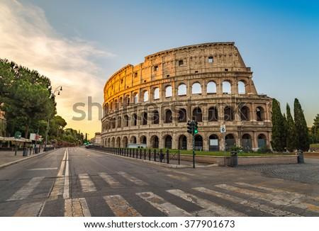 Sunrise at Colosseum , Rome , Italy