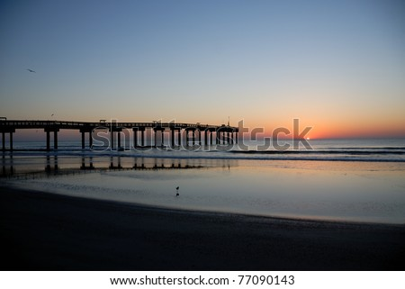sunrise at fishing pier st. augustine beach florida usa