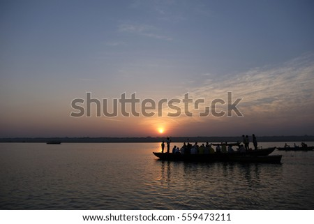 sunrise at ganga varanasi #559473211
