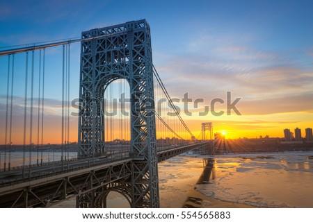 Sunrise at George Washington Bridge from New Jersey