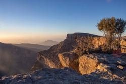 Sunrise at jebel shams mountain oman