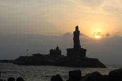 sunrise at kanyakumari. A tourist place in TamilNadau State, India. A popular tourist destination in India, it is famous for its unique ocean sunrise and moonrise, we the 133 feet Thiruvalluvar Statue