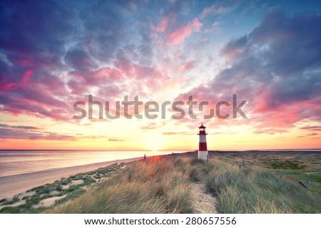 sunrise at Lighthouse List East on Sylt.