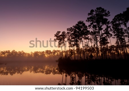 Sunrise at Long Pine Key Lake n Everglades National Park near Homestead, Florida