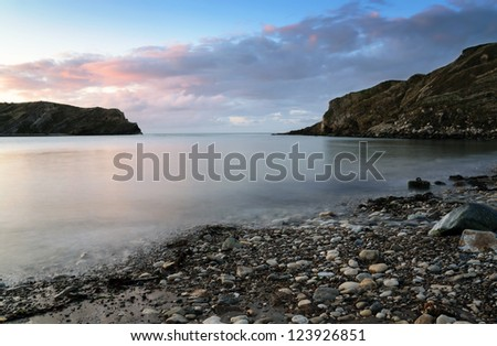 Sunrise at Lulworth Cove on Dorset's Jurassic Coast