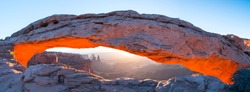 Sunrise at Mesa Arch in Canyonlands National Park of Utah state in the US of America
