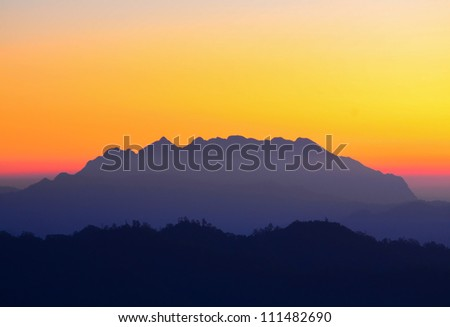 Sunrise at Mount Luang Chiang Dao. Location Chiang-Dao, Chiang Mai Thailand. Doi Luang Chiang-Dao