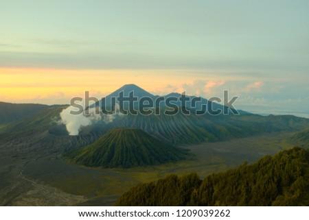 Sunrise at mountain Bromo on the island of Java, Indonesia #1209039262