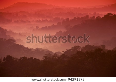 Sunrise at mountain. in the Nam Nao National Park , Loei province, Thailand. - stock photo