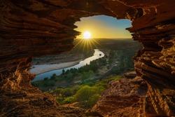 sunrise at natures window in the desert of kalbarri national park, western australia