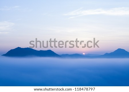 Sunrise at phu tog, cheang-karn, north-east of Thailand - stock photo