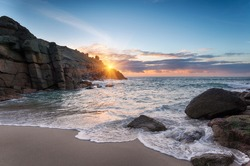 Sunrise at Porthgwarra Cove on the Lands End Peninsula in Cornwall