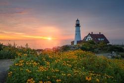 Sunrise at Portland Head Lighthouse in Maine.