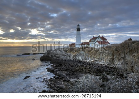 Sunrise at Portland Head lighthouse in South Portland Maine