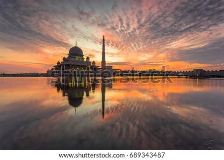 Sunrise at Putra Mosque, Putrajaya, Malaysia #689343487