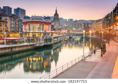 sunrise at ribera foodmarket in Bilbao, Spain
