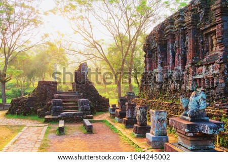 Sunrise at Ruins of Old hindu temples in My Son, Vietnam