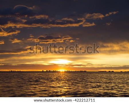 Sunrise at seaside. Los Alcazares. Spain Stock fotó ©