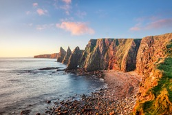Sunrise at Stacks of Duncansby, Duncansby Head, John o' Groats,Caithness, Scotland, UK