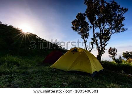 sunrise at Suwanting camp, Merbabu mountain #1083480581