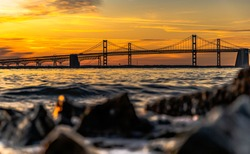 Sunrise at the Chesapeake bay bridge Annapolis Maryland