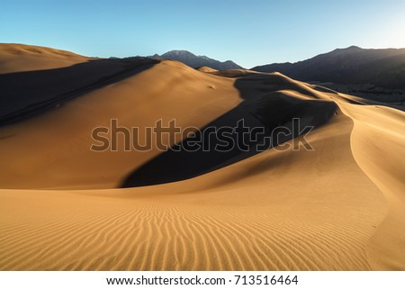 Sunrise at the Great Sand Dunes Great Sand Dunes National Park, Colorado, US #713516464