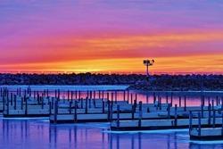 Sunrise at the Marina. Lexington, Michigan