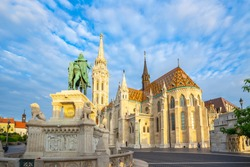 Sunrise at the Matthias Church in Budapest city, Hungary.