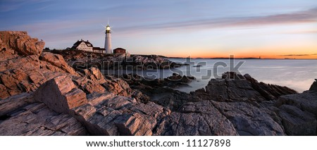 Sunrise At The Portland Head Light, Portland, Maine