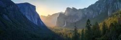 sunrise at the tunnel view in yosemite nationalpark, california in the usa