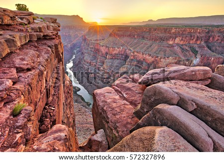 Sunrise at Toroweap in Grand Canyon National Park. #572327896