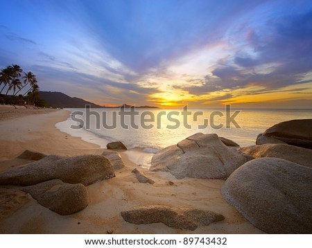 Sunrise at tropical rocky coast, Koh Samui Island,  Thailand