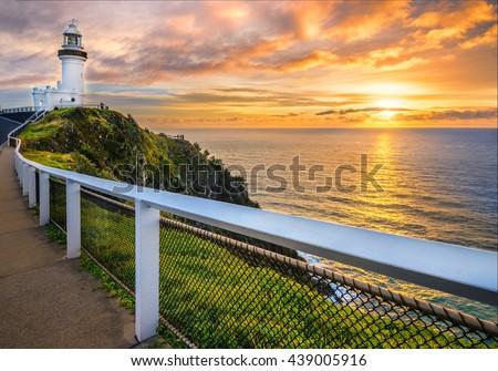 Sunrise at Vape Byron. Horizontal frame. #439005916