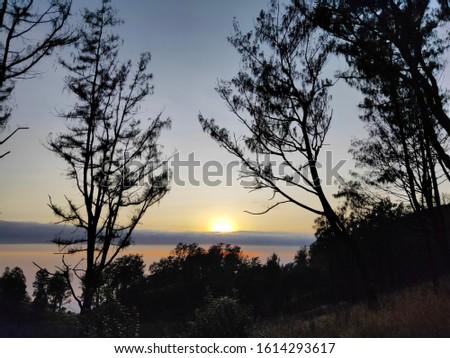 sunrise beautiful sunrise on Mount Lawu