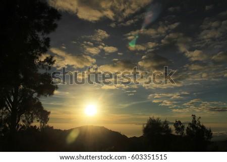 Sunrise -Beautiful sunrise with clear blue sky- #603351515