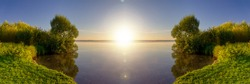 Sunrise. Beautiful view of lake with shore overgrown with reeds in sunny day. Rest in nature. Panoramic banner.