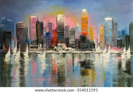 Sunrise behind a coastal city with boats on a water.\ Original oil painting.