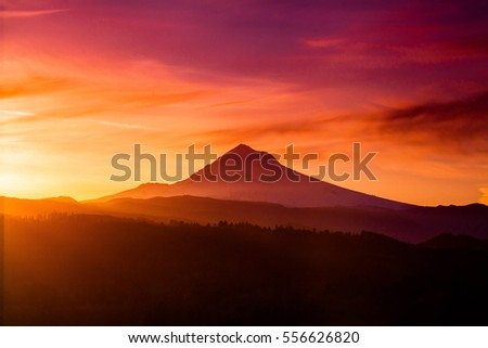 Sunrise behind Mount Hood from Jonsrud Viewpoint.
