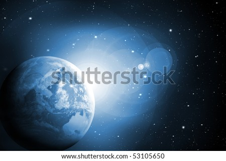 Sunrise behind the Earth in blue colors