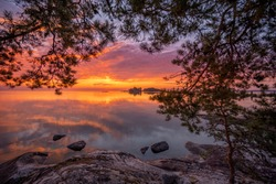 Sunrise by the Nordic region's largest lake one summer morning